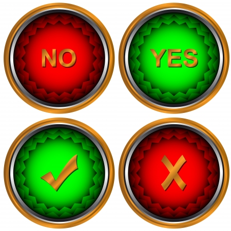Four different types of buttons yes and no Stock Vector - 14049362