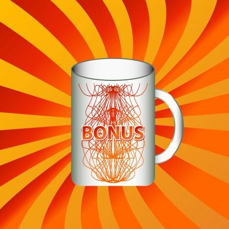 www tasty: Mug icon with an inscription a bonus on a unique background