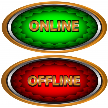 Green button online and red button offline Vector