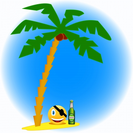 The pirate with beer under a palm tree with cocoes Vector