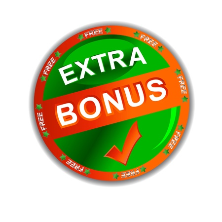 Green-red bonus symbol located on a white background Vector