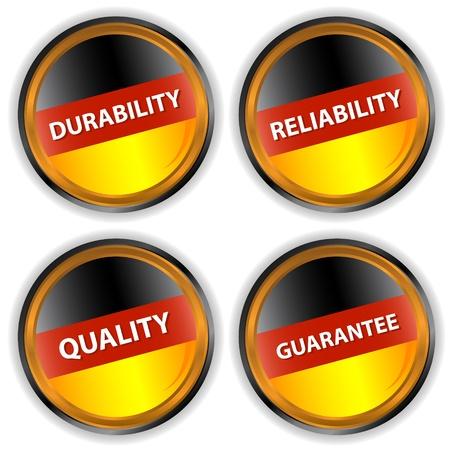 haltbarkeit: Vier deutsche Etiketten mit Qualit�t, Zuverl�ssigkeit, Haltbarkeit, eine Garantie