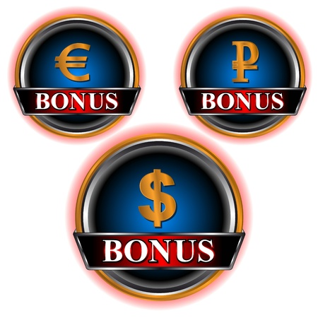 Three dark blue bonus of an icon in the form of currencies of dollar, euro and ruble Stock Vector - 14166606