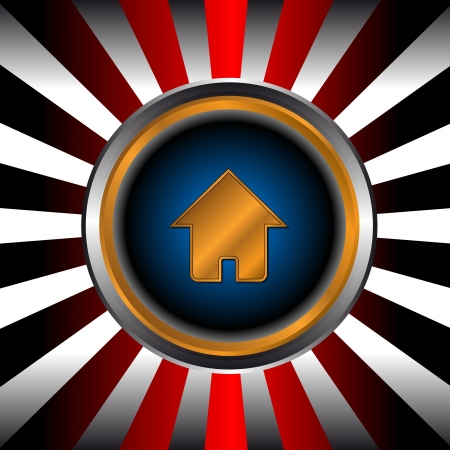 Icon of gold home in a unique background from beams Vector