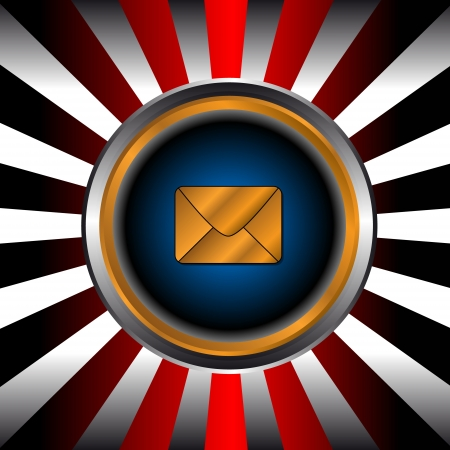 Icon of gold mail in a unique background from beams Vector