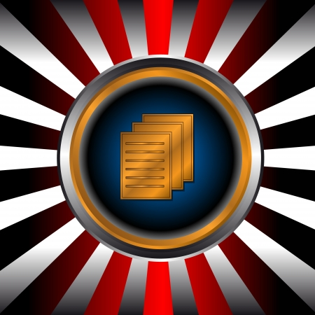 Icon of gold file in a unique background from beams Vector