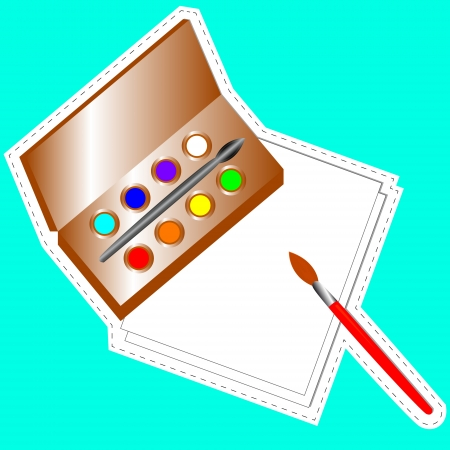 color mixing: Set for drawing in the form of a sticker