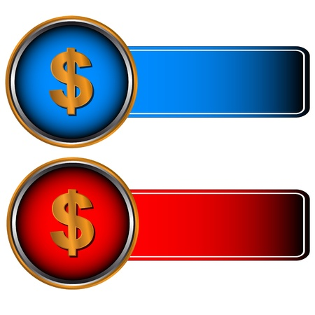 Two symbols of currencies on a red and dark blue background Stock Vector - 14229100