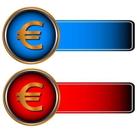 Two symbols of currencies on a red and dark blue background Stock Vector - 14229097