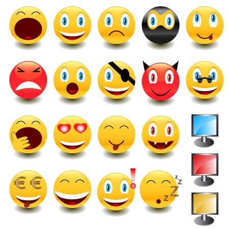 happy emoticon: Big set of smiles and some monitors for design of your site