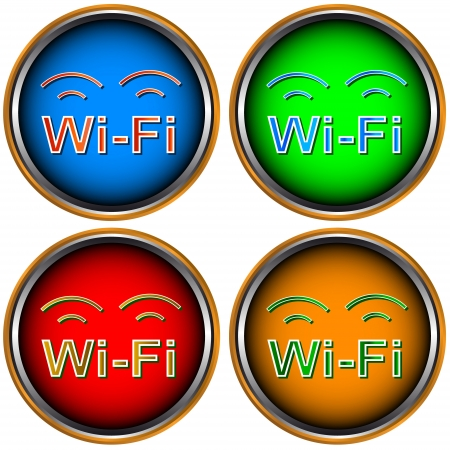 Four multi-colored Wi-Fi icons on a white background Vector