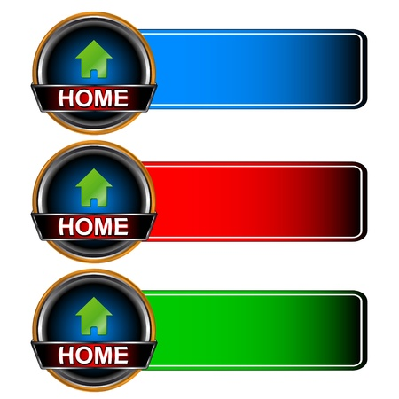 following: Three multi-colored home icons on a white background