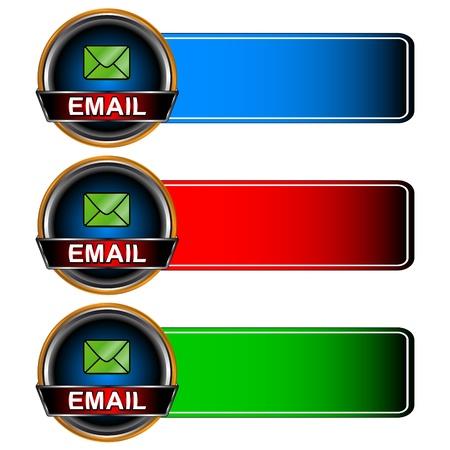 rekolekcje: Trzy multi-kolorowe ikony poczty na białym tle