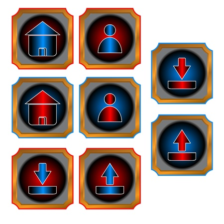 Red and blue web buttons on a white background Stock Vector - 14296910