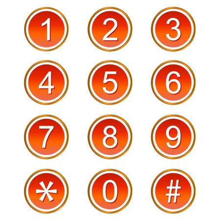 six web website: Red numbers web icons on a white background