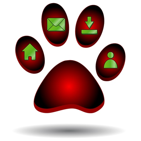Red paw of an animal with web icons Stock Vector - 14296923