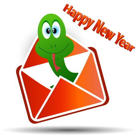 Snake in an envelope with a congratulation of happy new year Stock Vector - 14397332