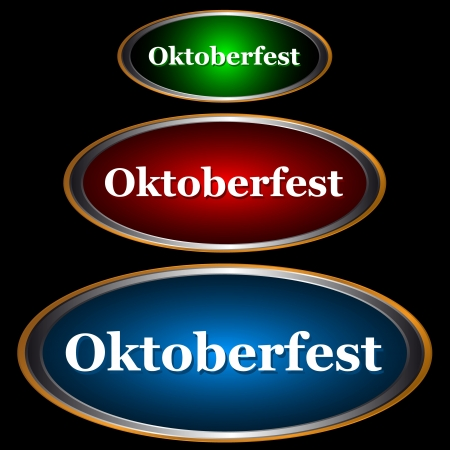 Three icons Oktoberfest a type of stickers on an orange background Vector