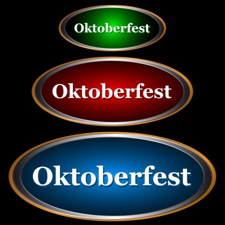 blau weiss: Three icons Oktoberfest a type of stickers on an orange background