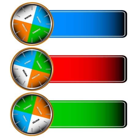 Three multi-colored forms with icons of four seasons Vector