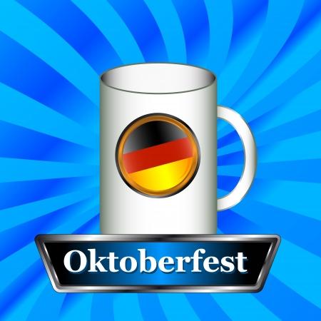 bier: Sign Oktoberfest in the form of a mug on a blue background