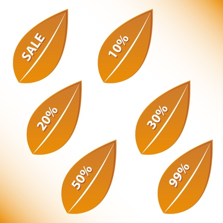 Orange sheets in the form of discounts on grange background Vector