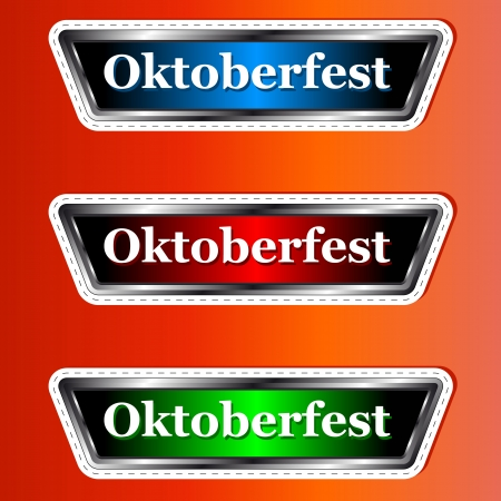Three signs Oktoberfest a type of stickers on an orange background Vector