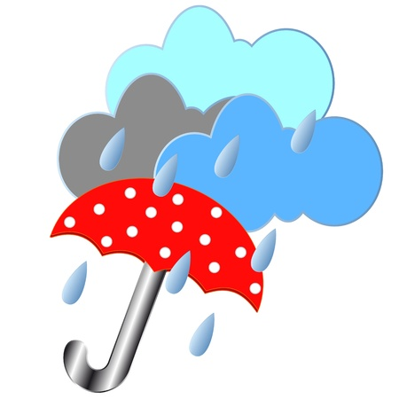 Red umbrella with rain clouds and drops Vector