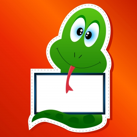 Snake in animated style with a frame for the text in the form of a sticker Vector