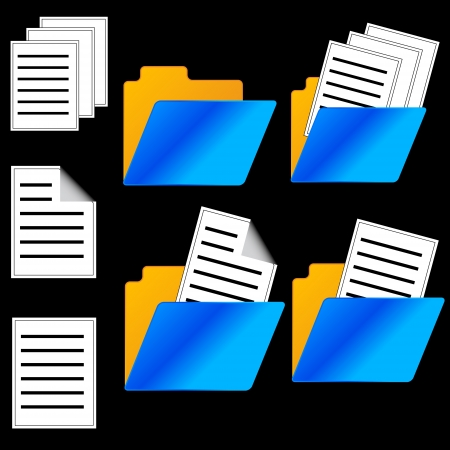 storing: Seven web icons of folders and files in different options