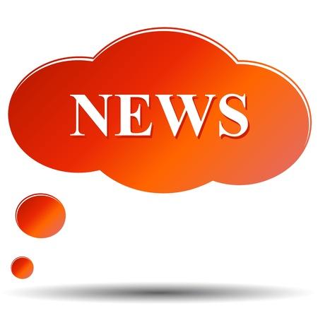 icone news: Ic�ne de nouvelles sous la forme de nuages ??sur un fond blanc Illustration