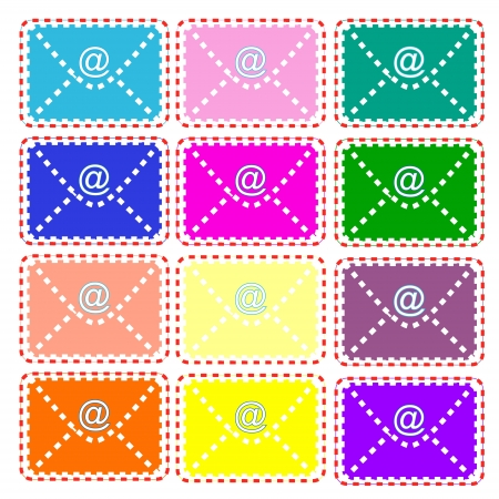 Twelve multi-colored envelopes in vintage and usual style Vector