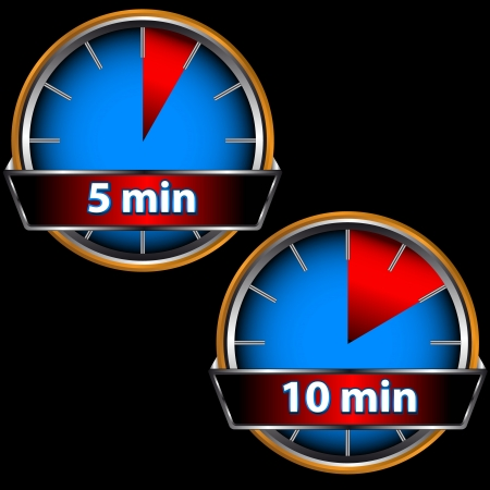 Unique icons of hours with five and ten minutes Vector