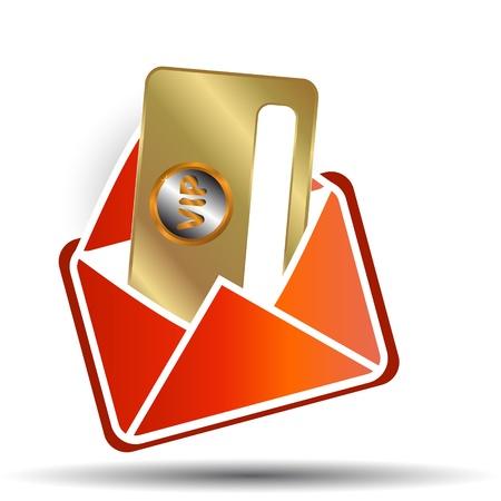 Or la carte vip dans une enveloppe rouge Banque d'images - 14554820