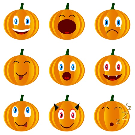 Nine various smiles in the form of pumpkins Vector
