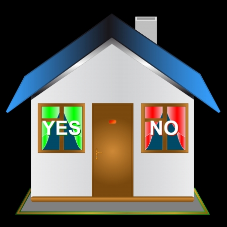 The house with windows in the form of buttons yes and no Stock Vector - 14554817