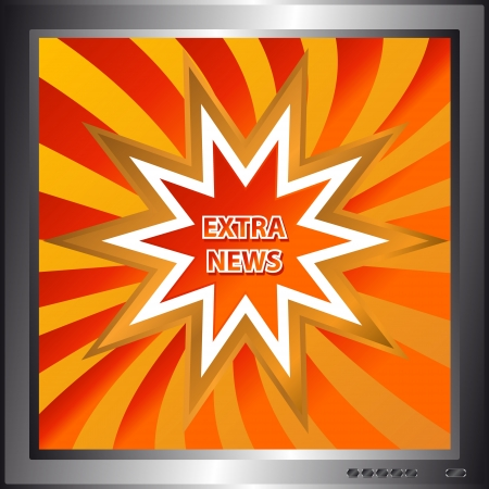 Icon of extra news in the form of a star on the background as a screen Stock Vector - 14589438