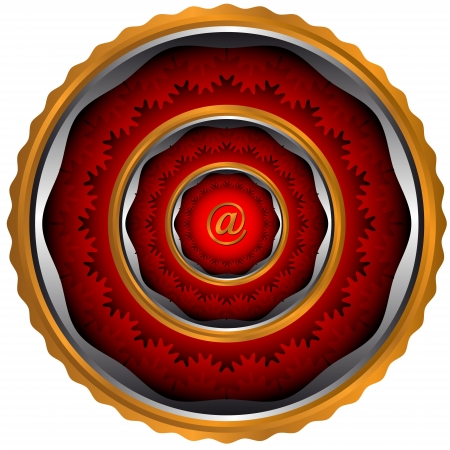 Abstract email an icon with circles of red color Stock Vector - 14589439