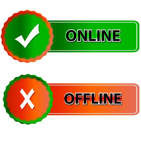 offline: Green button online and red button offline in vector  Illustration