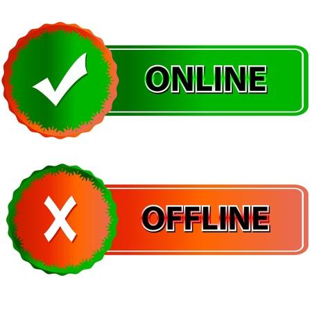 offline: Green button online and red button offline in vector  Illustration