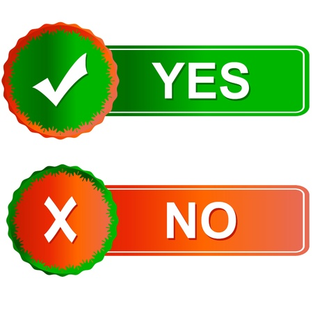 Buttons yes and no on a white background Stock Vector - 14589425