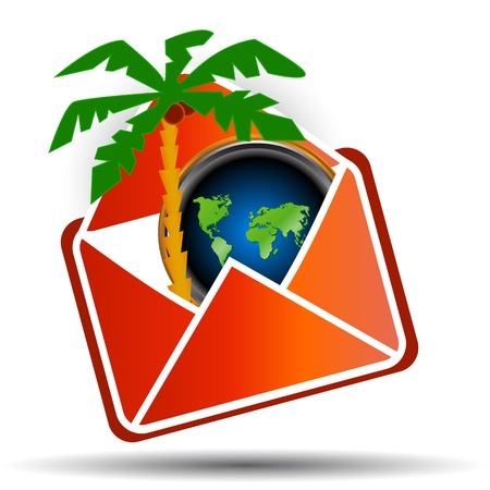 Palm tree and the world map in a red envelope on a white background Stock Vector - 14589440