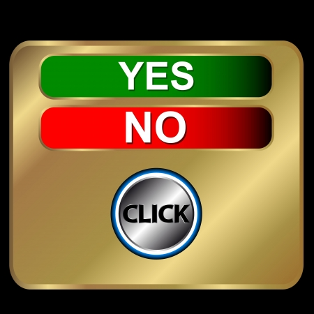 Buttons yes and no on a gold background  Vector