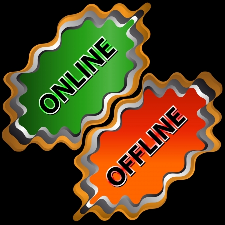 offline: Abstract green button on-line and red button offline   Illustration