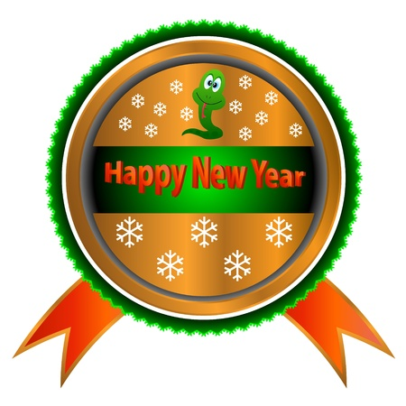 Gold symbol of happy new year with a sign of a snake Vector