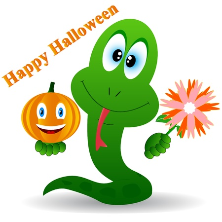 Snake with flower and pumpkin in a hands Vector