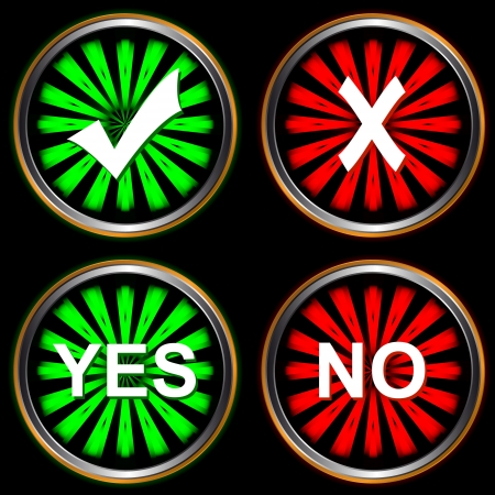 Four different types of buttons yes and no Stock Vector - 14627865