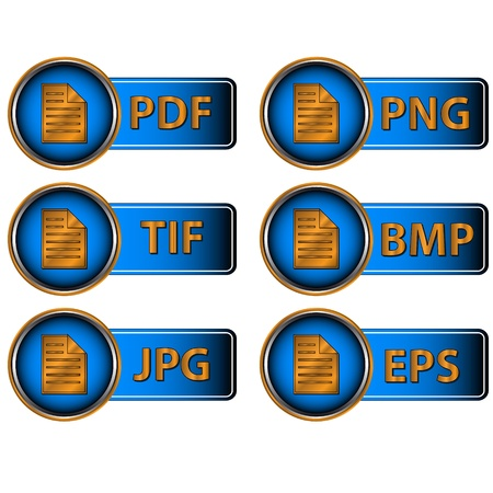 Different image formats as blue icons on a white background Vector