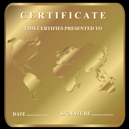 The certificate in unique style on a gold background  Vector