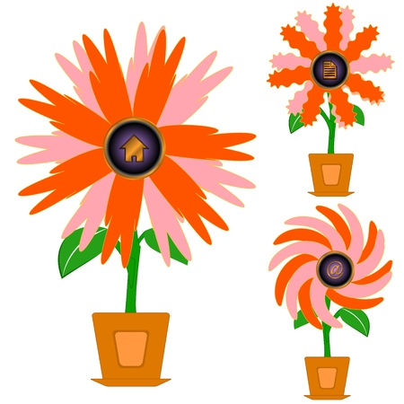 Unique flowers with the center in the form of icons Stock Vector - 14737833